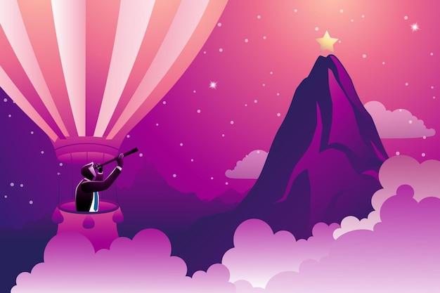 Illustratie van bedrijfsconcept, zakenman op heteluchtballon op zoek naar ster in bergtop