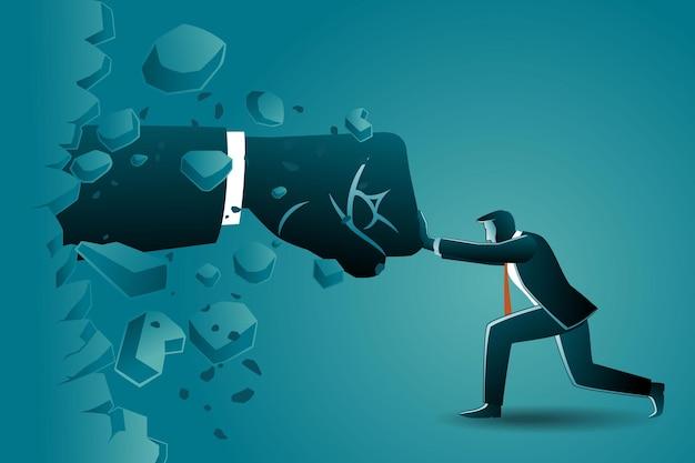 Illustratie van bedrijfsconcept, zakenman verzet zich tegen gigantische hand die uit de muur komt