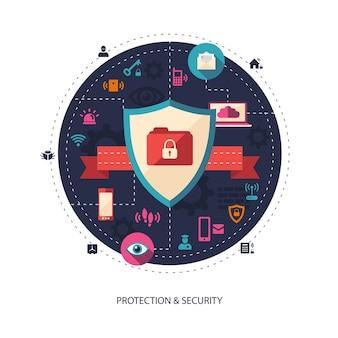 Illustratie van bedrijfsillustratie met beveiligingssamenstelling