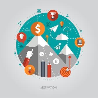 Illustratie van bedrijfsillustratie met motivatiesamenstelling