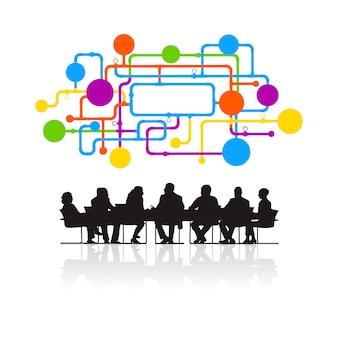 Illustratie van bedrijfsmensen in de vergadering