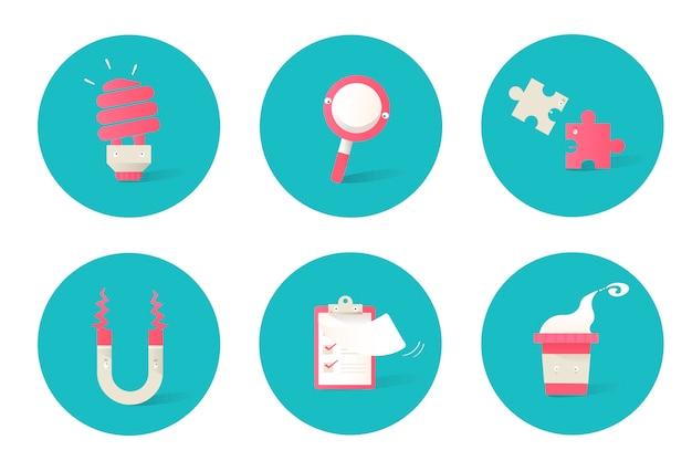 Illustratie van bedrijfspictogrammen die op blauwe achtergrond worden geplaatst