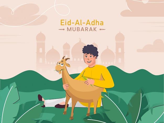 Illustratie van beeldverhaal moslim jonge jongen die een geit op groene aard en lichte perzikmoskee-achtergrond houden voor eid-al-adha mubarak concept.