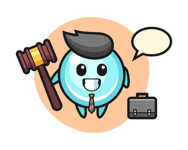 Illustratie van bellenmascotte als advocaat, leuk stijlontwerp