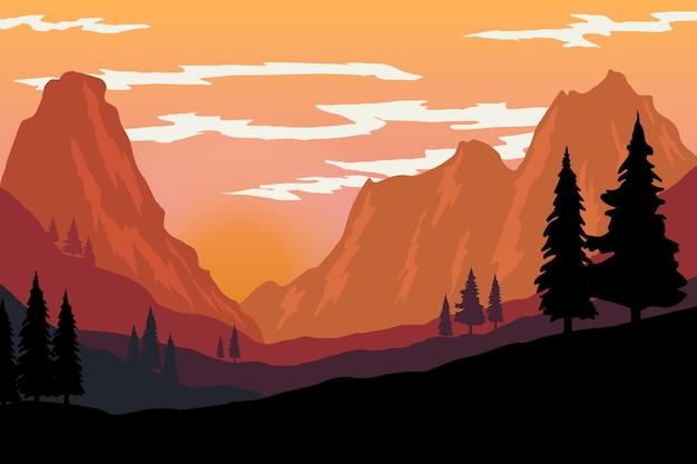 Illustratie van berglandschap in vlakke stijl