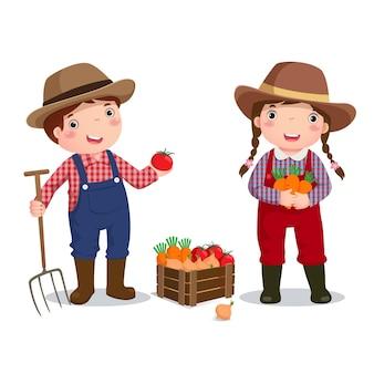 Illustratie van beroep kostuum van boer voor kinderen