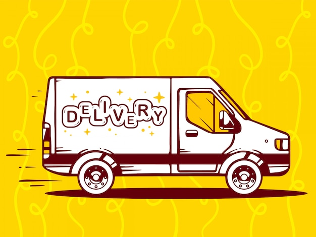 Illustratie van bestelwagen gratis en snelle levering aan klant op gele achtergrond.