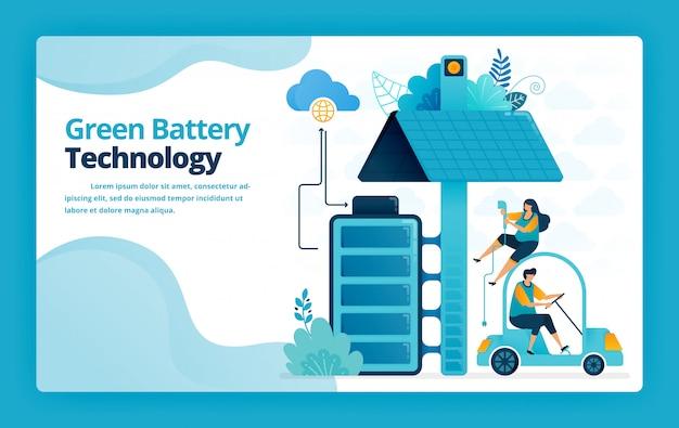 Illustratie van bestemmingspagina van batterijlaadstations voor mobiele en elektrische auto's met zonnepaneeltechnologie