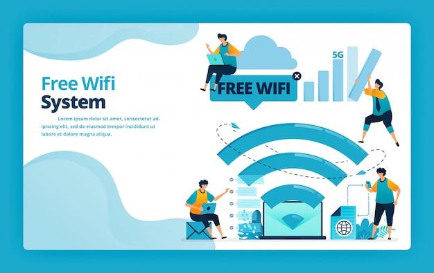 Illustratie van bestemmingspagina van gratis wifi-systeem voor een goedkopere en efficiëntere internetverbinding