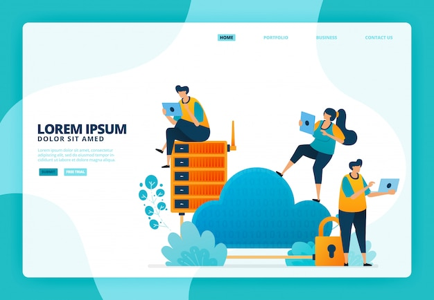 Illustratie van beveiliging in cloud en database. voor de bestemmingspagina website