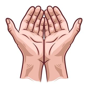 Illustratie van biddende handen, hand getrokken handen in biddende positie.