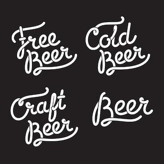 Illustratie van bierbelettering: tekstborden gratis bier, koud bier, ambachtelijk bier.