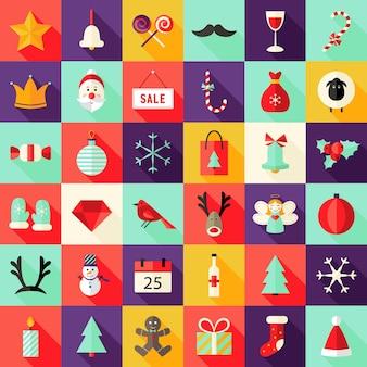 Illustratie van big christmas squared flat icons set