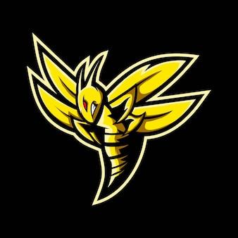 Illustratie van bijen e-sport mascotte