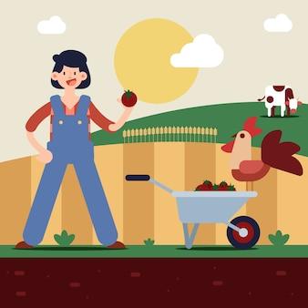 Illustratie van biologische landbouw concept