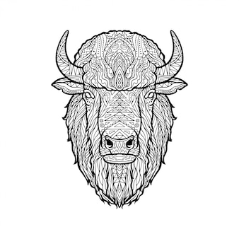 Illustratie van bizon hoofd zentangle