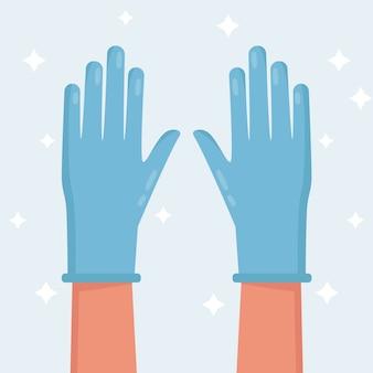 Illustratie van blauwe beschermende handschoenen