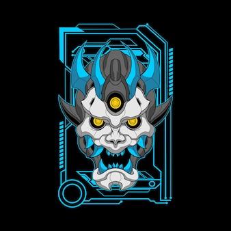 Illustratie van blauwe hoornmecha oni