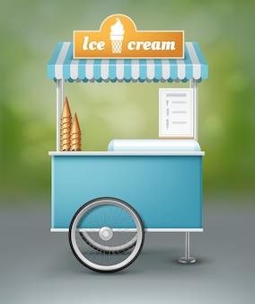 Illustratie van blauwe kar voor consumptie-ijs met bord