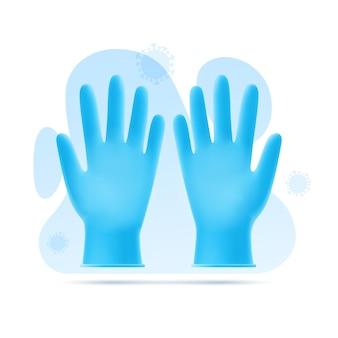 Illustratie van blauwe latexhandschoenen op achtergrond van abstracte vormen en virus