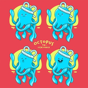 Illustratie van blauwe octopus sushi maker voor sticker clip art mascotte logo