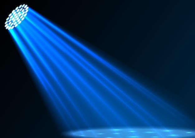 Illustratie van blauwe schijnwerpers op donkere achtergrond