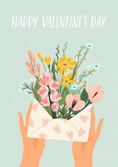 Illustratie van bloemen in een envelop.
