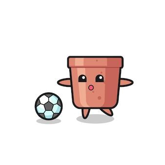 Illustratie van bloempot cartoon is aan het voetballen, schattig stijlontwerp voor t-shirt, sticker, logo-element