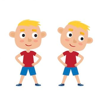 Illustratie van blonde jongen in oefening pose geïsoleerd op wit, hoofd rotatie, voeten schouderbreedte uit elkaar, handen op de heupen.