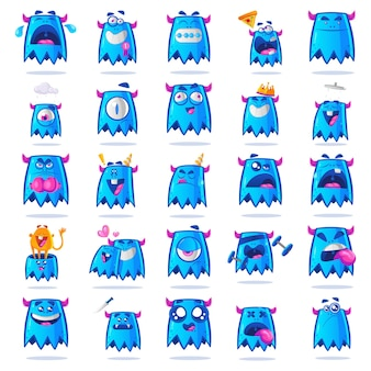 Illustratie van blue monster set.