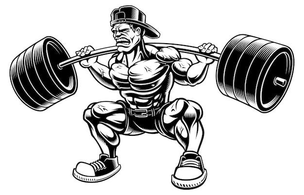 Illustratie van bodybuilder doet squats met barbell, op de witte achtergrond.