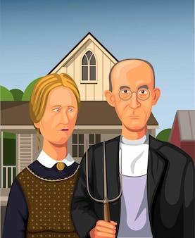Illustratie van boer met dochter met hooivork in eldon, iowa. verenigde staten van amerika. concept in cartoon