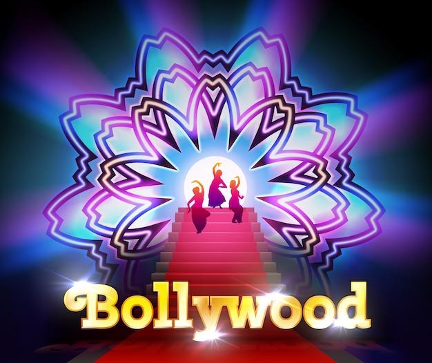 Illustratie van bollywood rode loper evenement met dansende vrouwen op bloem mandala