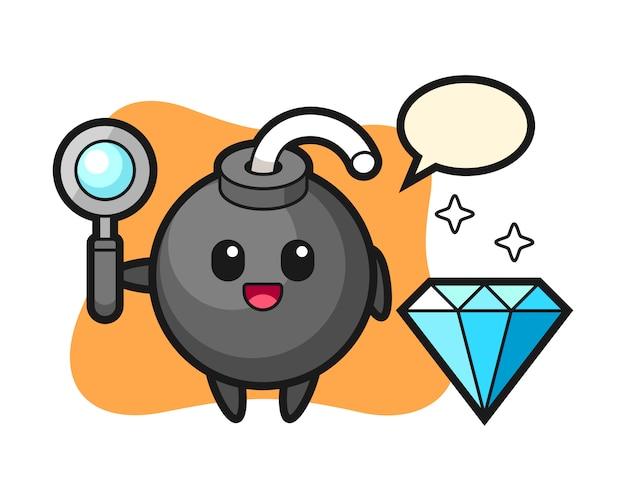 Illustratie van bomkarakter met een diamant