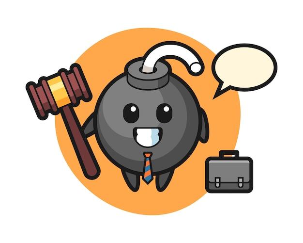 Illustratie van bommascotte als advocaat