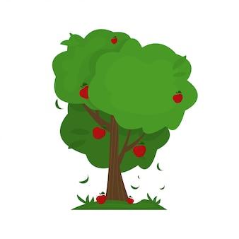 Illustratie van boom van de beeldverhaal de abstracte appel.