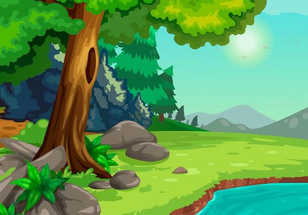 Illustratie van bos met een rivier achtergrondvector