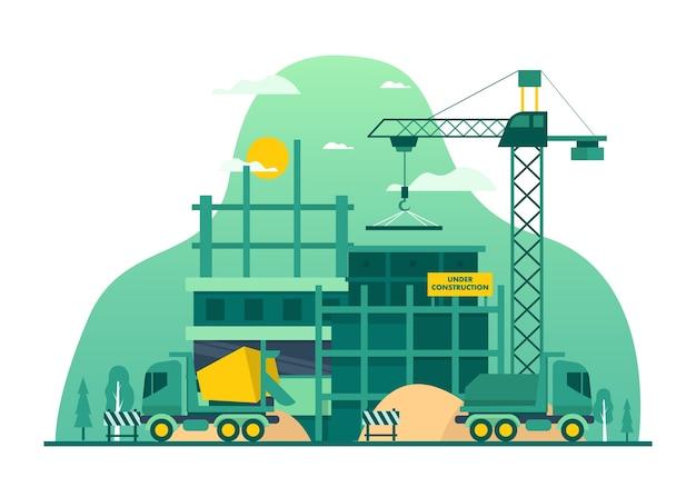Illustratie van bouwbedrijf in onroerend goed