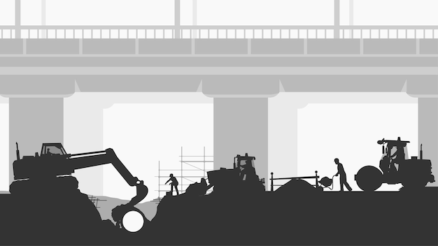 Illustratie van bouwers die nieuwe pijp dichtbij snelwegbrug in silhouetstijl monteren