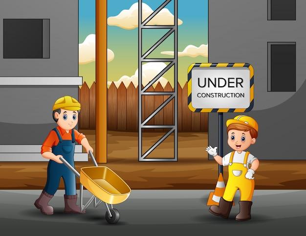 Illustratie van bouwvakkers bij een bouwterrein