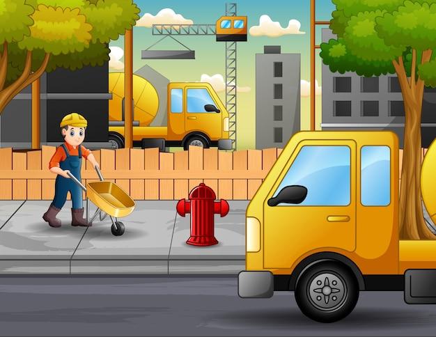 Illustratie van bouwvakkers op een bouwterrein