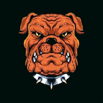 Illustratie van boze bulldog geschikt voor t-shirt, print, poster en aanverwante zaken