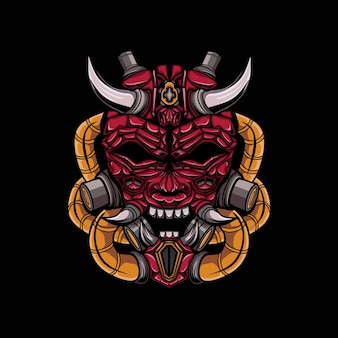 Illustratie van boze gehoornde duivel