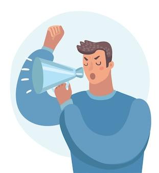Illustratie van boze man schreeuwen door een megafoon.