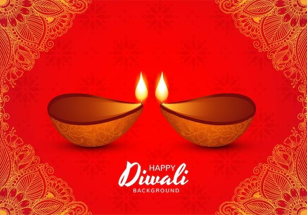 Illustratie van brandende diya op gelukkige diwali-vakantieachtergrond