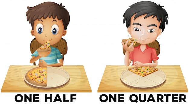 Illustratie van breuken een half en een kwart