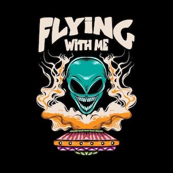 Illustratie van buitenaards hoofd en ufo met rook voor t-shirtontwerp en print