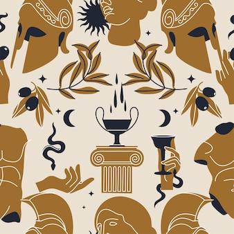 Illustratie van bundel antieke tekens en symbolen statuut naadloos patroon