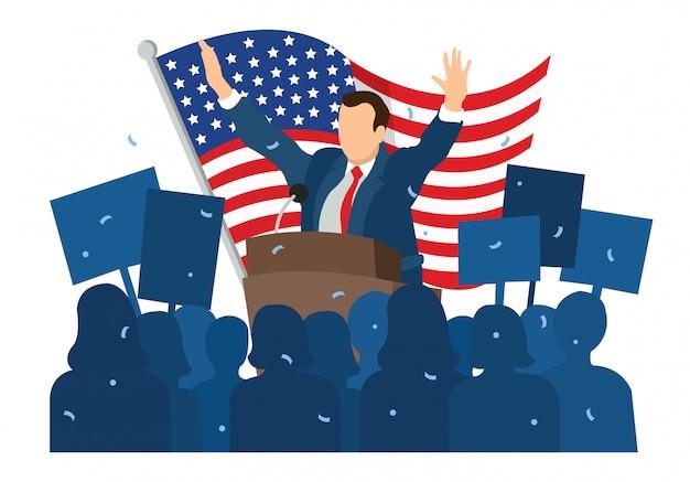 Illustratie van burgers die applaus gaven na de toespraak van de president
