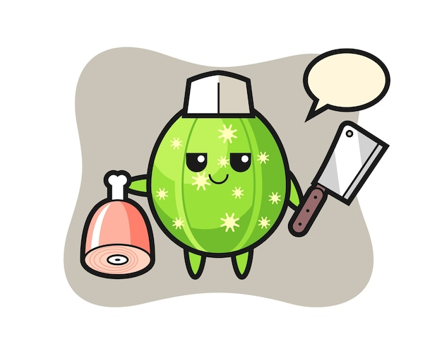 Illustratie van cactuskarakter als slager